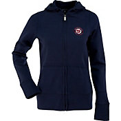 Antigua Women's Washington Nationals Signature Navy Full-Zip Hoodie