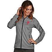 Antigua Women's Philadelphia Phillies Grey Golf Jacket