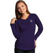Antigua Women's Colorado Rockies Flip Purple Long Sleeve V-Neck Shirt