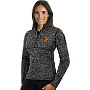 Antigua Women's Baltimore Orioles Black Fortune Half-Zip Pullover