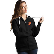 Antigua Women's Baltimore Orioles Black Victory Full-Zip Hoodie