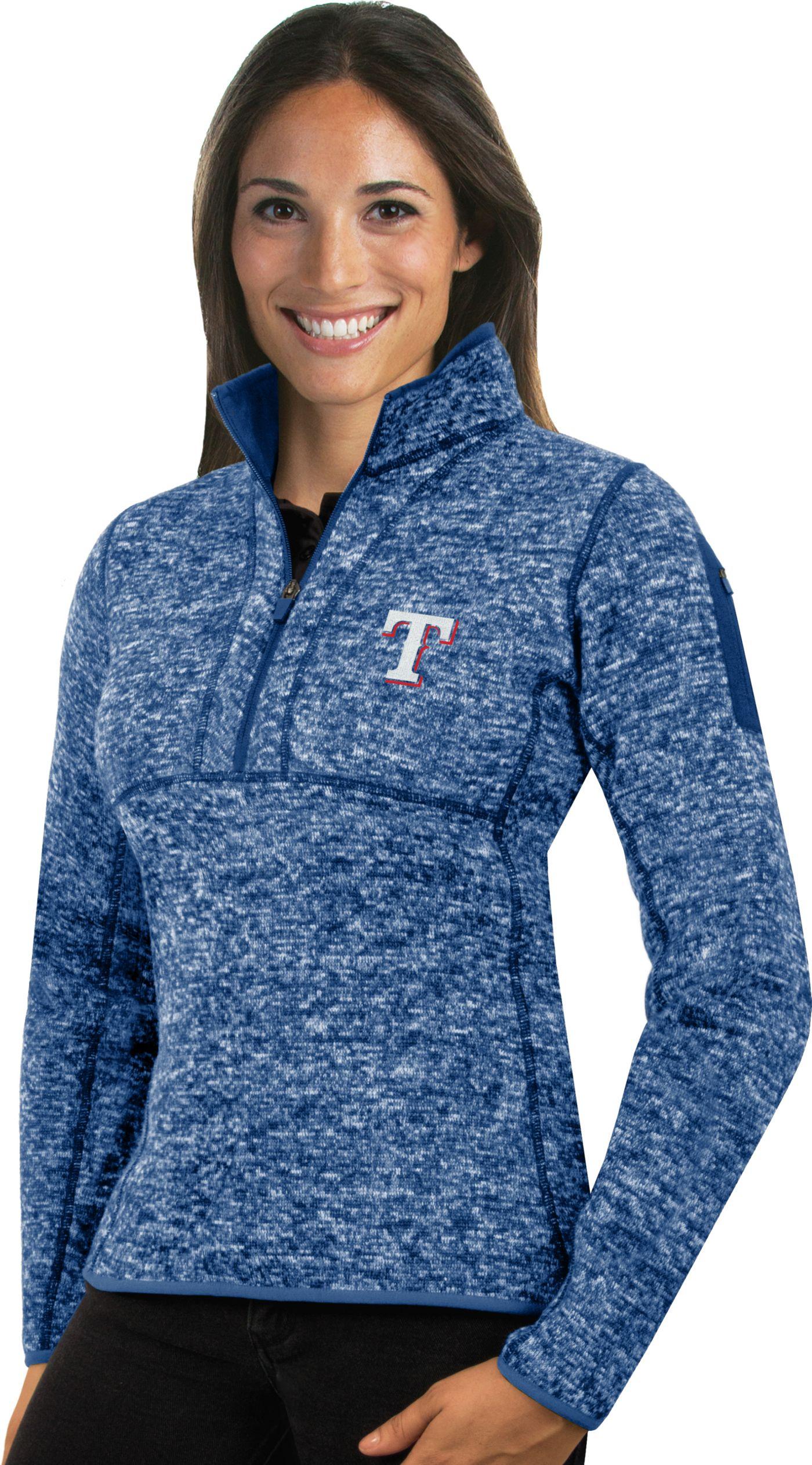 Antigua Women's Texas Rangers Royal Fortune Half-Zip Pullover