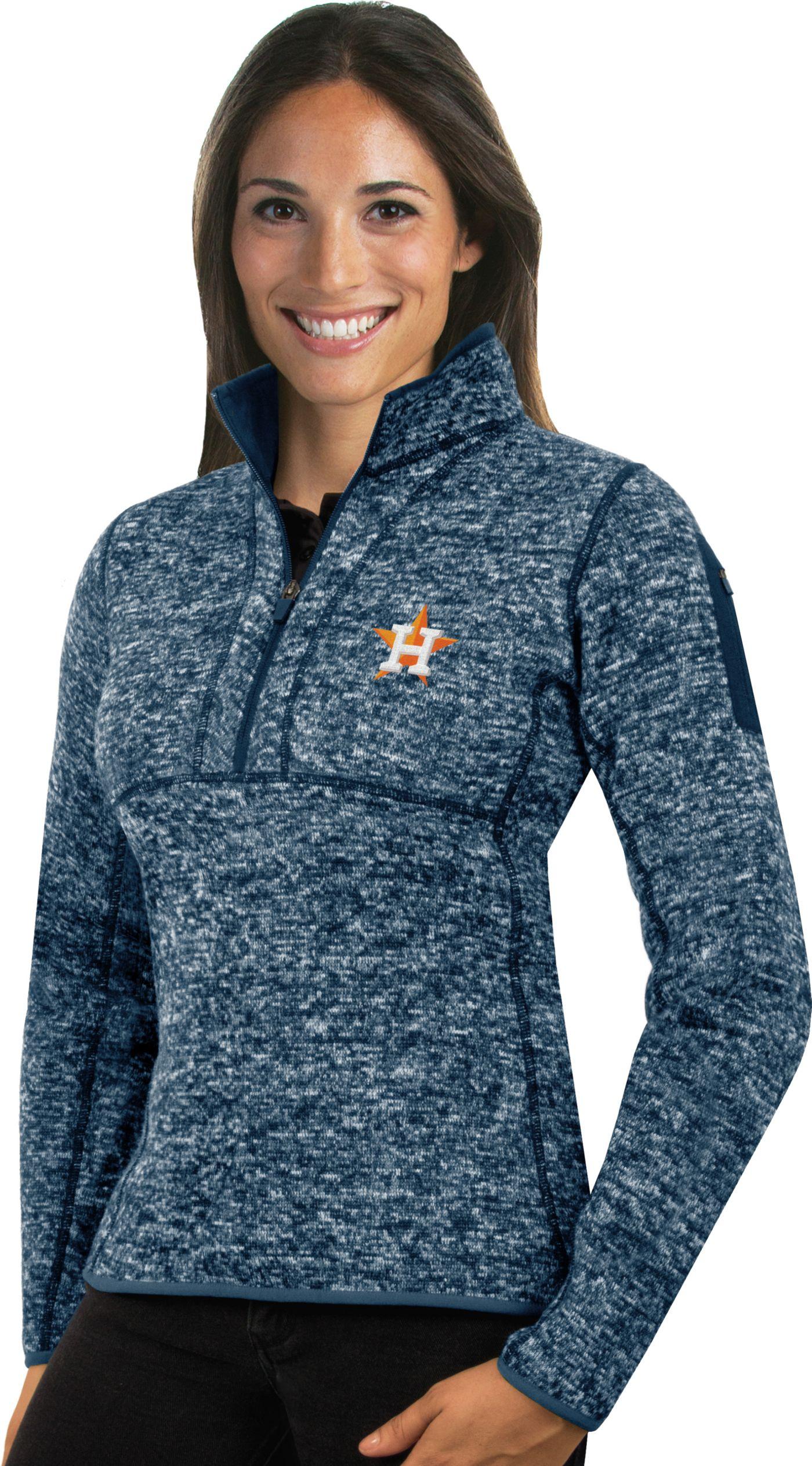 Antigua Women's Houston Astros Navy Fortune Half-Zip Pullover