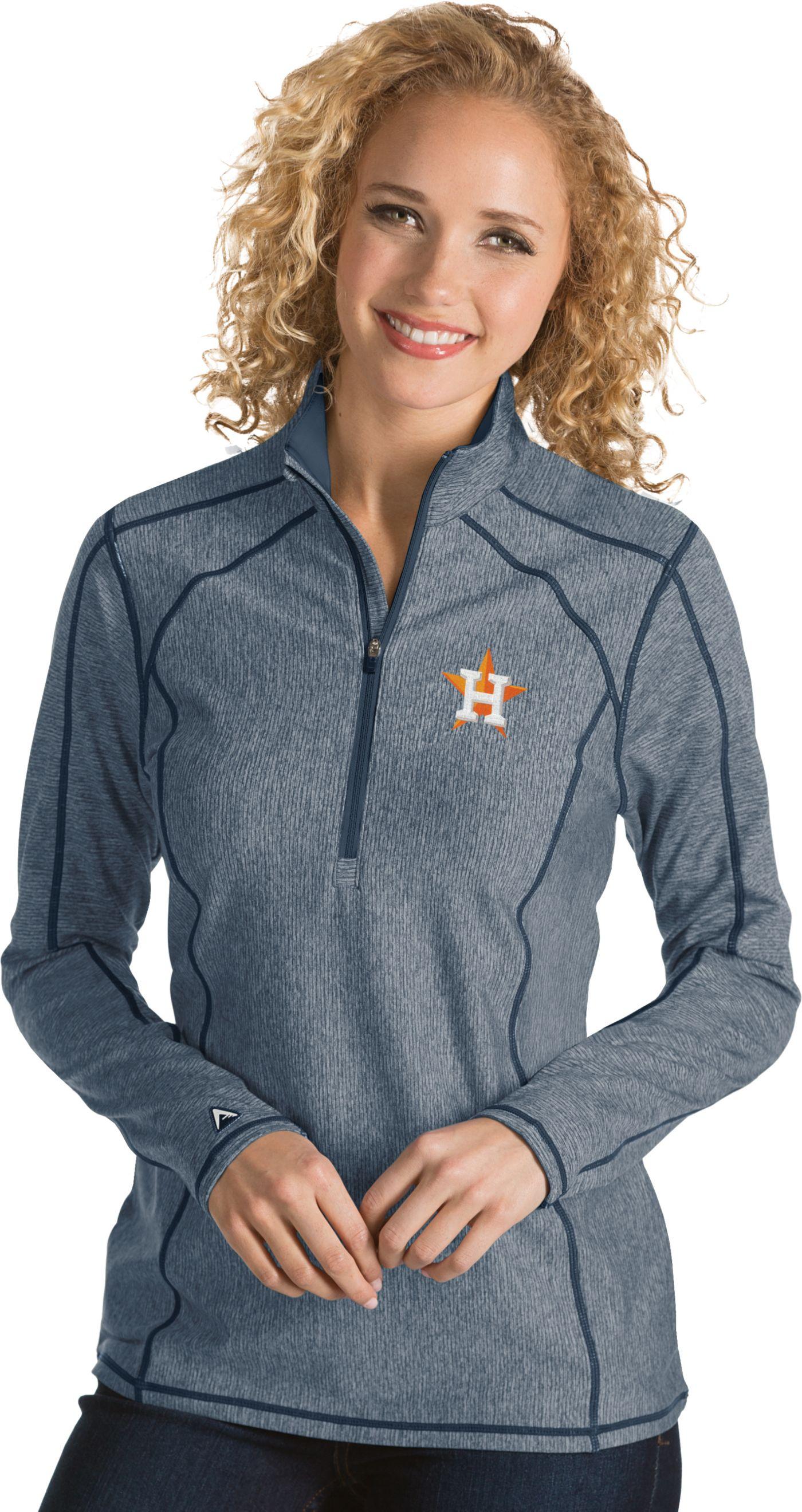 Antigua Women's Houston Astros Navy Tempo Quarter-Zip Pullover
