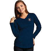 Antigua Women's Houston Astros Flip Navy Long Sleeve V-Neck Shirt