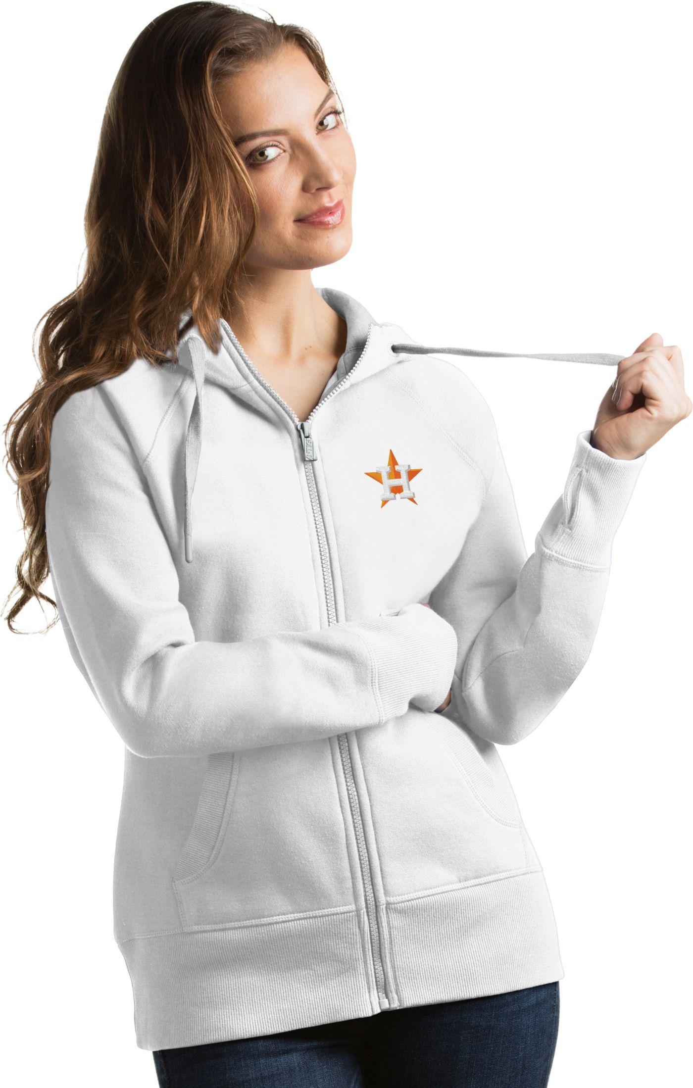 Antigua Women's Houston Astros White Victory Full-Zip Hoodie
