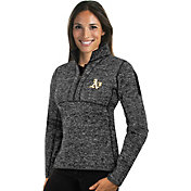 Antigua Women's Oakland Athletics Grey Fortune Half-Zip Pullover