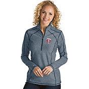 Antigua Women's Minnesota Twins Navy Tempo Quarter-Zip Pullover