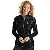 Antigua Women's Chicago White Sox Black Tempo Quarter-Zip Pullover