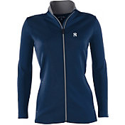 Antigua Women's New York Yankees Leader Navy Full-Zip Jacket