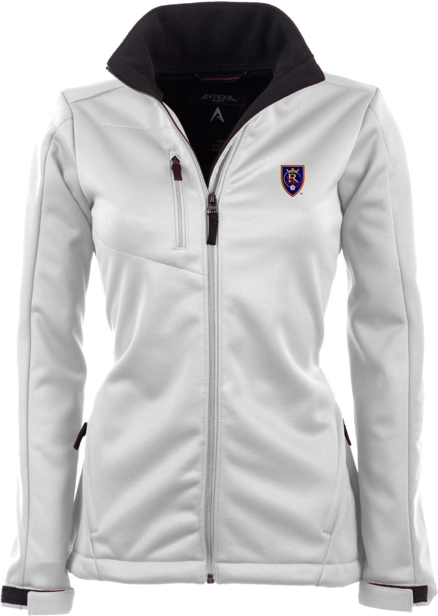 Antigua Women's Real Salt Lake Traverse White Soft-Shell Full-Zip Jacket