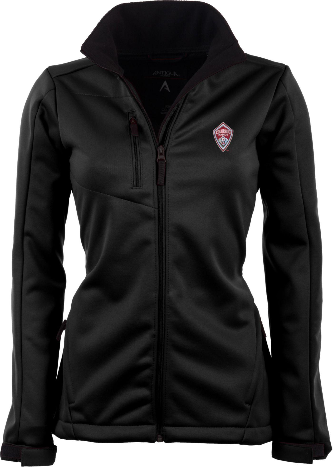 Antigua Women's Colorado Rapids Traverse Black Soft-Shell Full-Zip Jacket
