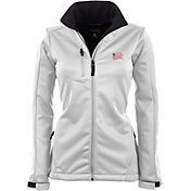 Antigua Women's New England Revolution Traverse White Soft-Shell Full-Zip Jacket