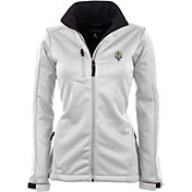 Antigua Women's Seattle Sounders Traverse White Soft-Shell Full-Zip Jacket