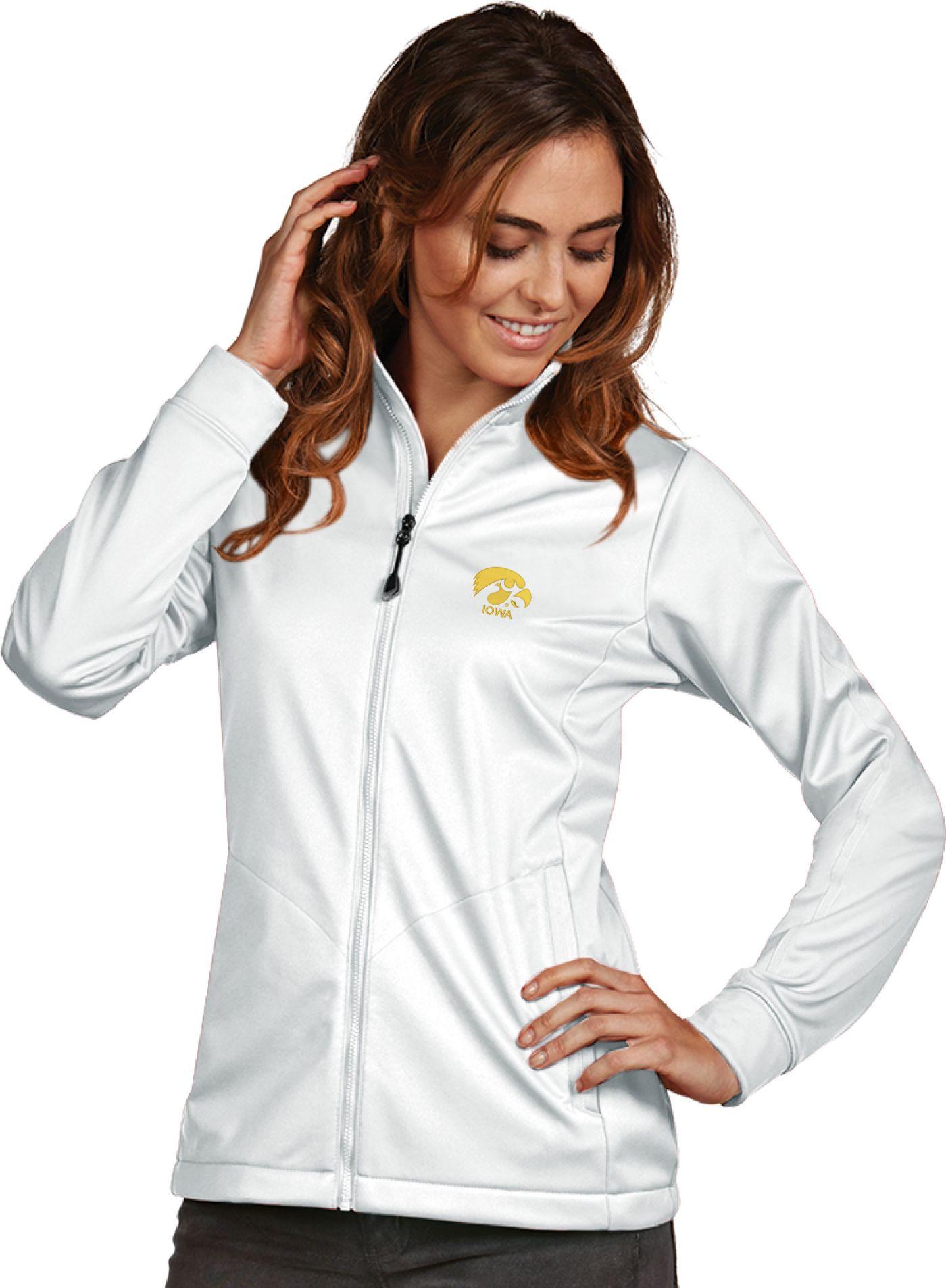 Antigua Women's Iowa Hawkeyes White Performance Golf Jacket