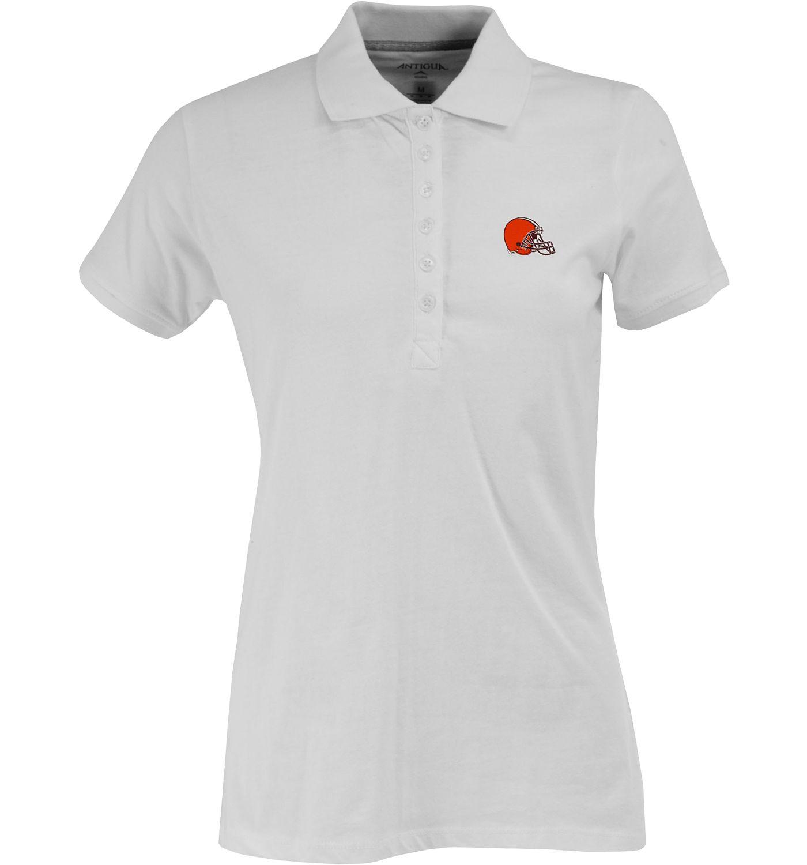 Antigua Women's Cleveland Browns White Spark Polo