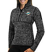 Antigua Women's Miami Dolphins Fortune Black Pullover Jacket