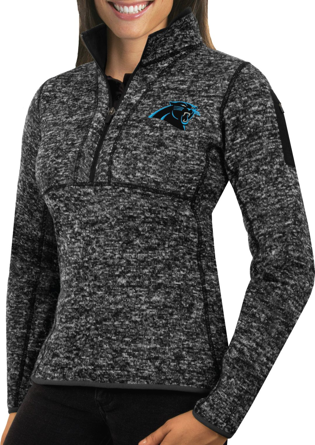 hot sale online a3972 4ad3d Antigua Women's Carolina Panthers Fortune Black Pullover Jacket