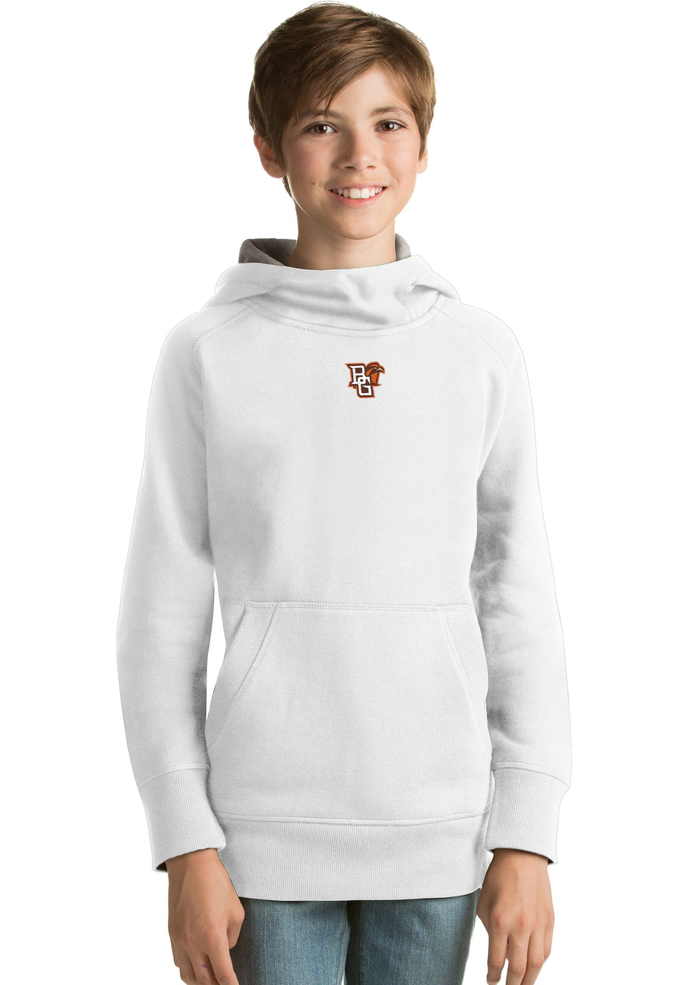 Antigua Youth Bowling Green Falcons White Victory Pullover Hoodie