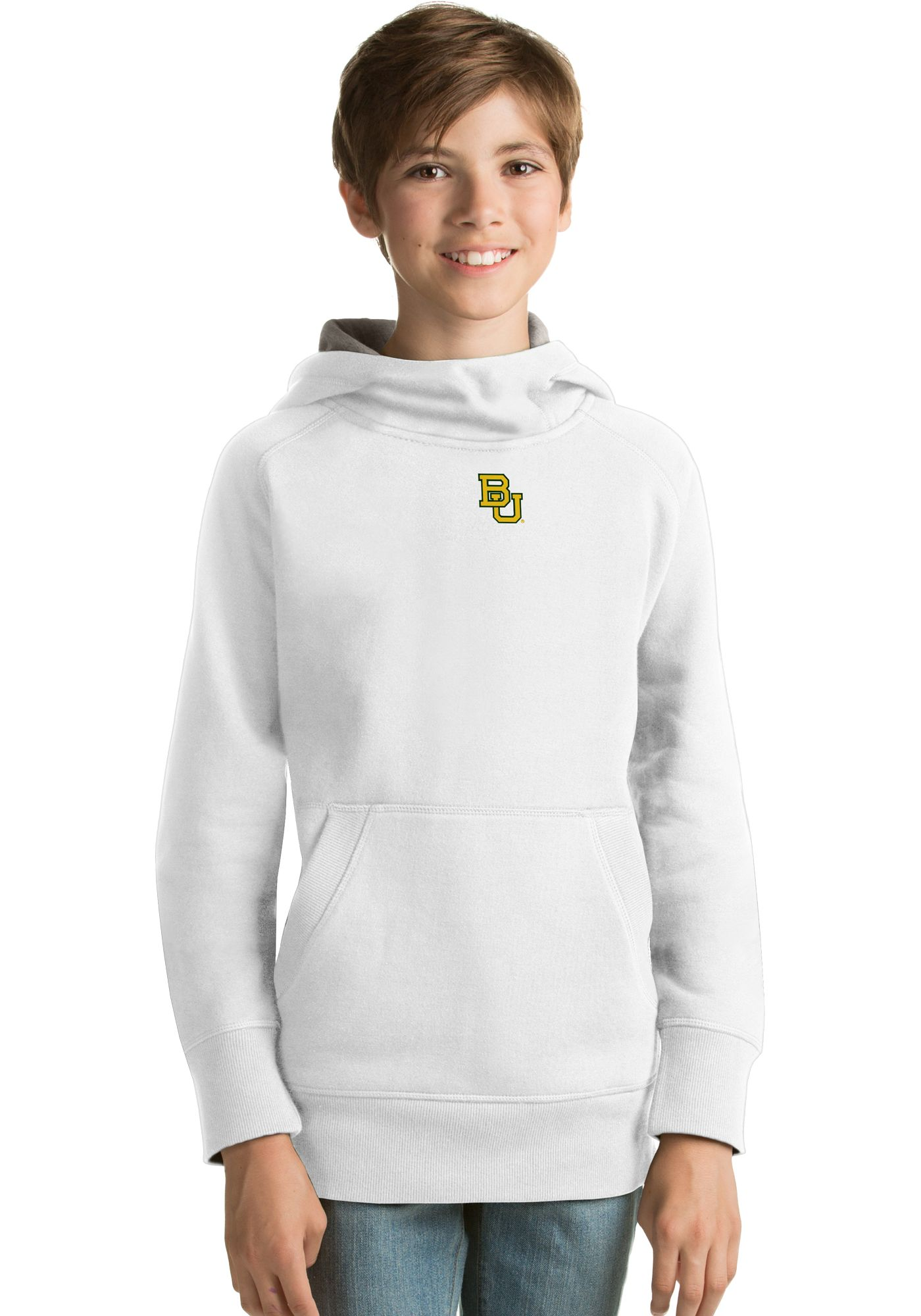 Antigua Youth Baylor Bears White Victory Pullover Hoodie