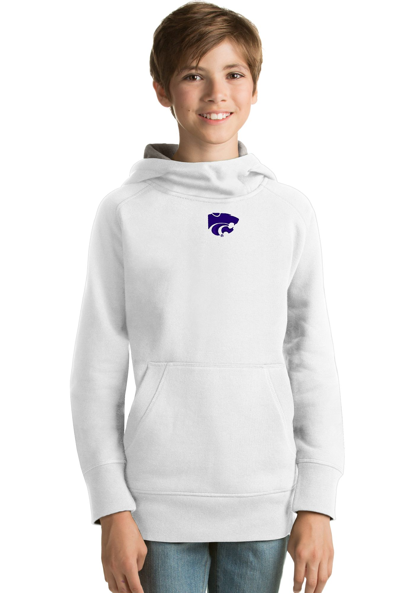 Antigua Youth Kansas State Wildcats White Victory Pullover Hoodie