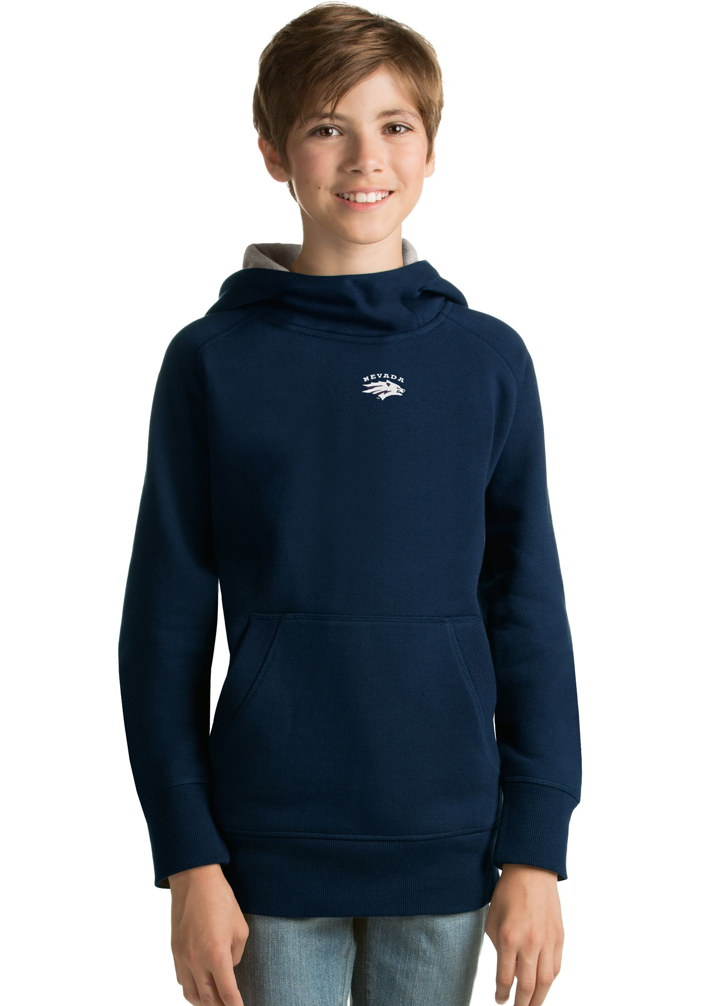 Antigua Youth Nevada Wolf Pack Blue Victory Pullover Hoodie