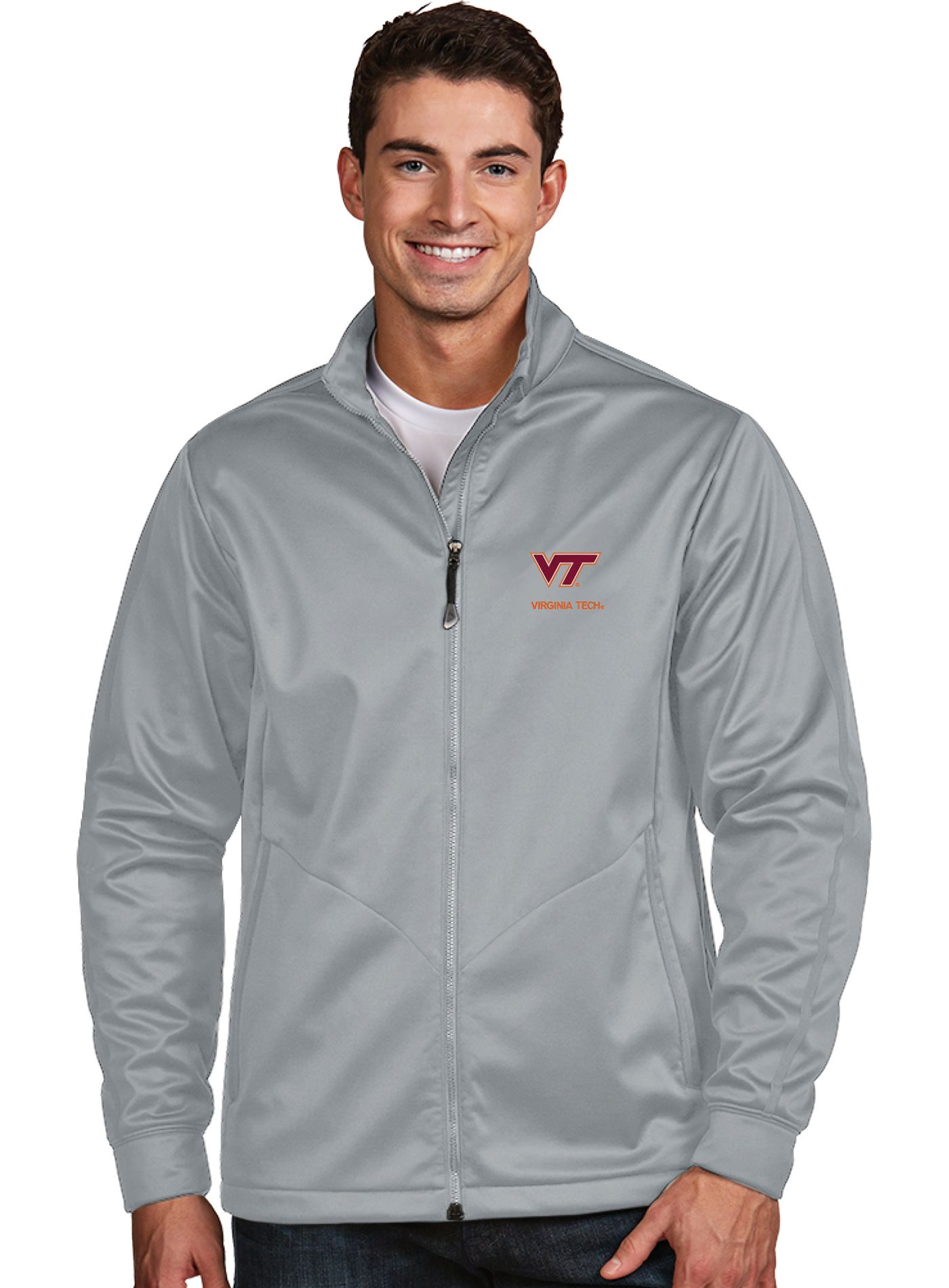 Antigua Men's Virginia Tech Hokies Silver Performance Golf Jacket