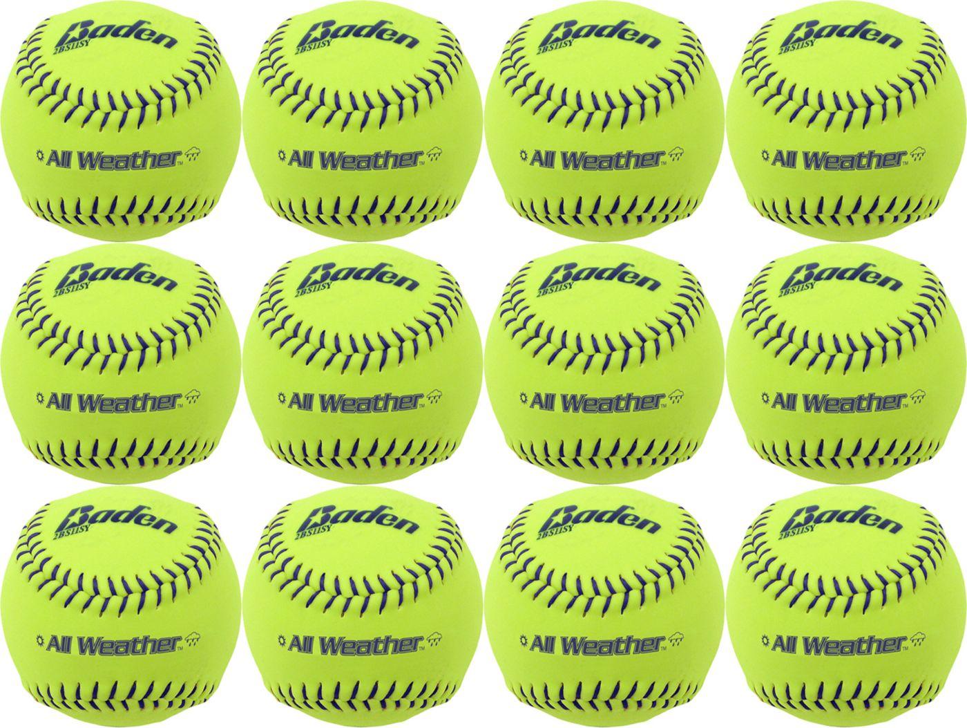 Baden 11'' All-Weather Practice Softballs – 12-Pack