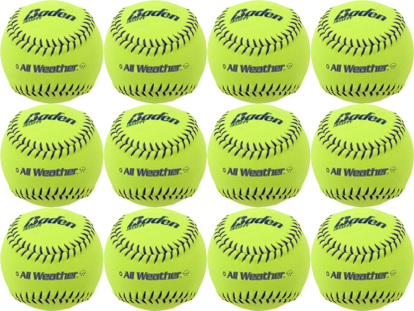 Baden 12'' All-Weather Practice Softballs – 12-Pack