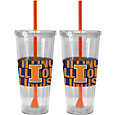 Boelter Illinois Fighting Illini Bold Sleeved 22oz Straw Tumbler 2-Pack