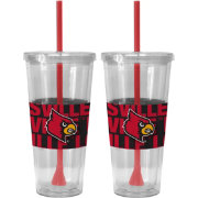 Boelter Louisville Cardinals Bold Sleeved 22oz Straw Tumbler 2-Pack