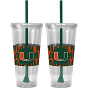 Boelter Miami Hurricanes Bold Sleeved 22oz Straw Tumbler 2-Pack