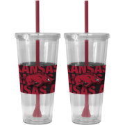 Boelter Arkansas Razorbacks Bold Sleeved 22oz Straw Tumbler 2-Pack