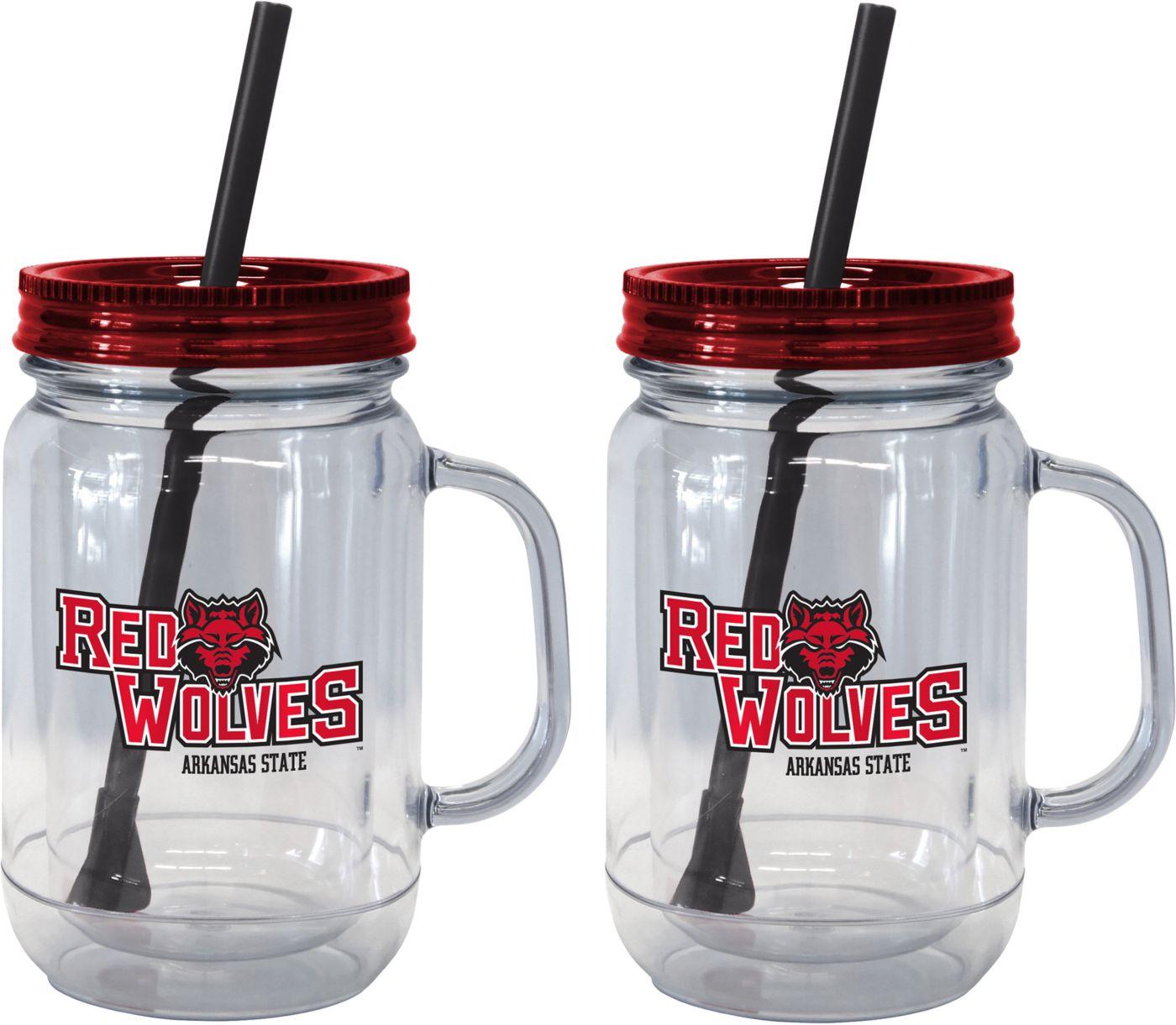 Boelter Arkansas State Red Wolves 20oz Handled Straw Tumbler 2-Pack