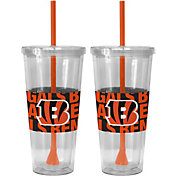 Boelter Cincinnati Bengals Bold Sleeved 22oz Straw Tumbler 2-Pack