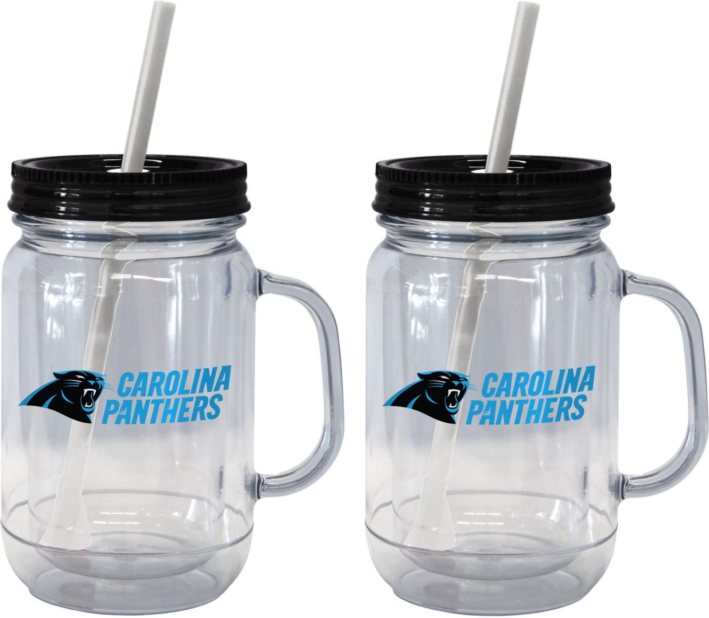 Boelter Carolina Panthers 20oz Handled Straw Tumbler 2-Pack