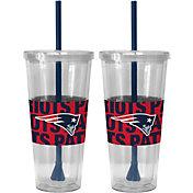 Boelter New England Patriots Bold Sleeved 22oz Straw Tumbler 2-Pack