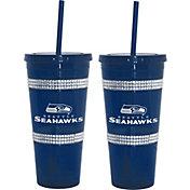 Boelter Seattle Seahawks Bling 22oz Straw Tumbler 2-Pack