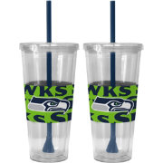 Boelter Seattle Seahawks Bold Sleeved 22oz Straw Tumbler 2-Pack