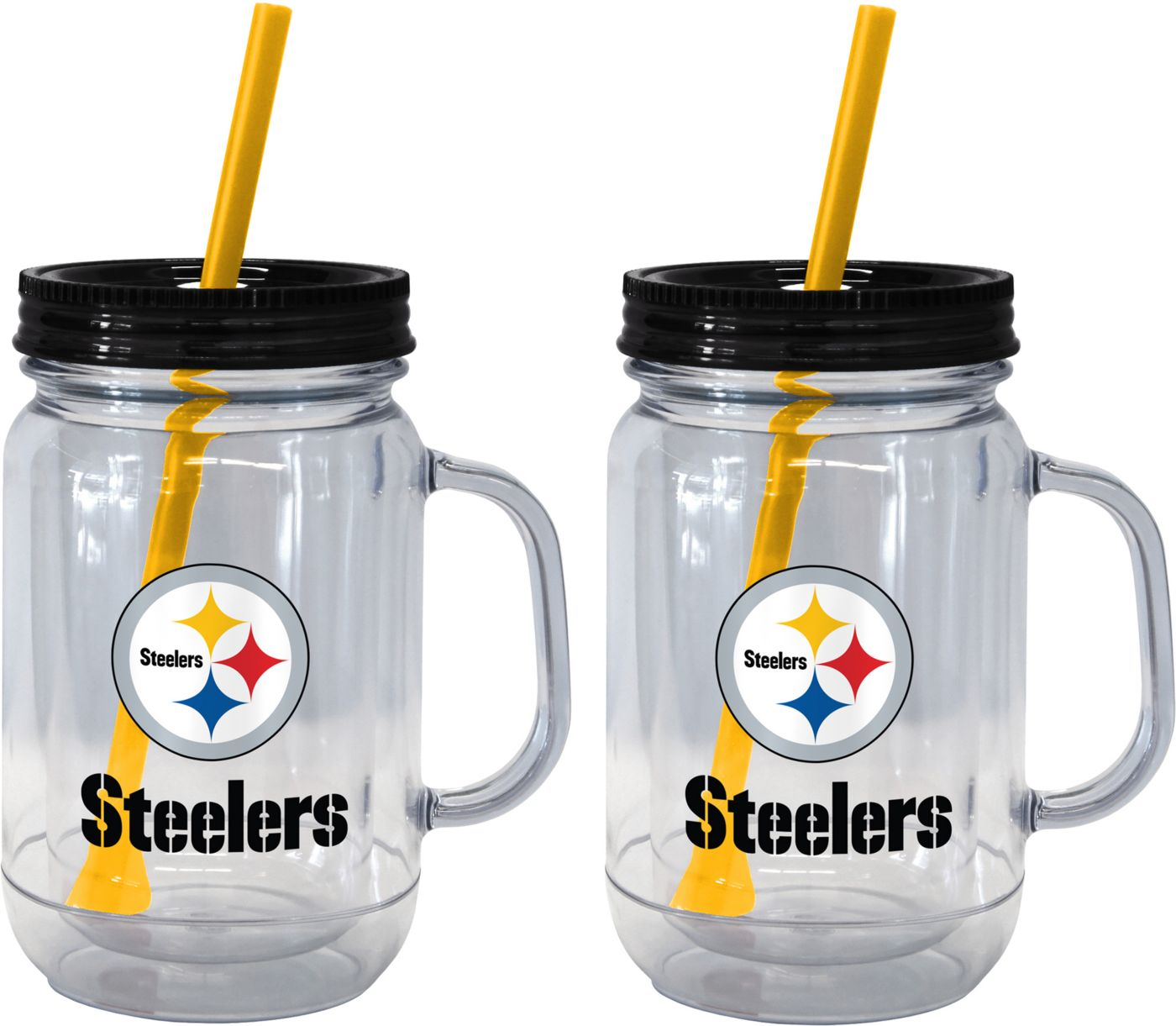 Boelter Pittsburgh Steelers 20oz Handled Straw Tumbler 2-Pack