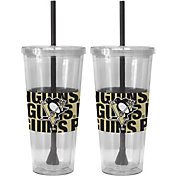 Boelter Pittsburgh Penguins Bold Sleeved 22oz Straw Tumbler 2-Pack