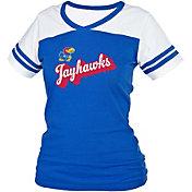 boxercraft Women's Kansas Jayhawks Blue/White Powder Puff T-Shirt