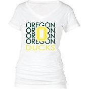 boxercraft Women's Oregon Ducks Perfect Fit V-Neck White T-Shirt