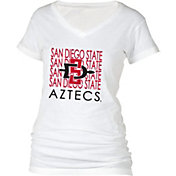 boxercraft Women's San Diego State Aztecs Perfect Fit V-Neck White T-Shirt