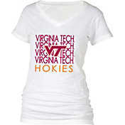 boxercraft Women's Virginia Tech Hokies Perfect Fit V-Neck White T-Shirt