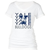 boxercraft Women's Yale Bulldogs Perfect Fit V-Neck White T-Shirt