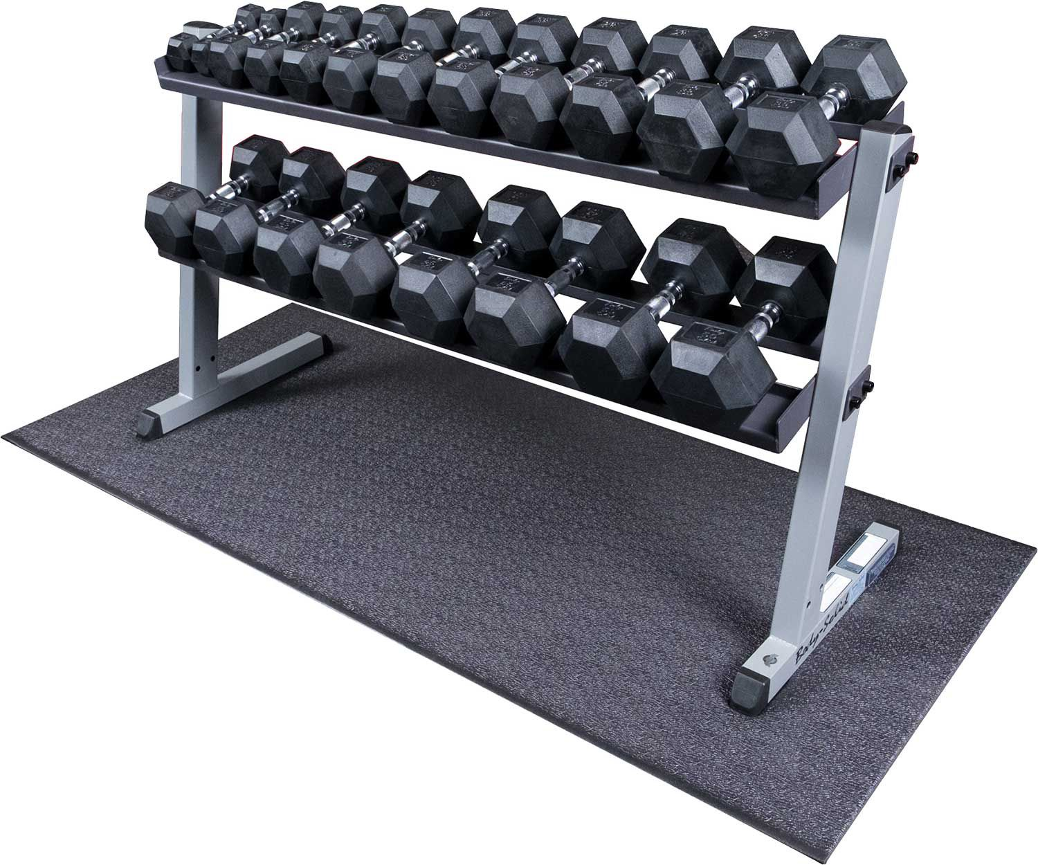Rubber Dumbbell Set: Body Solid GDR60 Rubber Hex Dumbbell Rack And Set