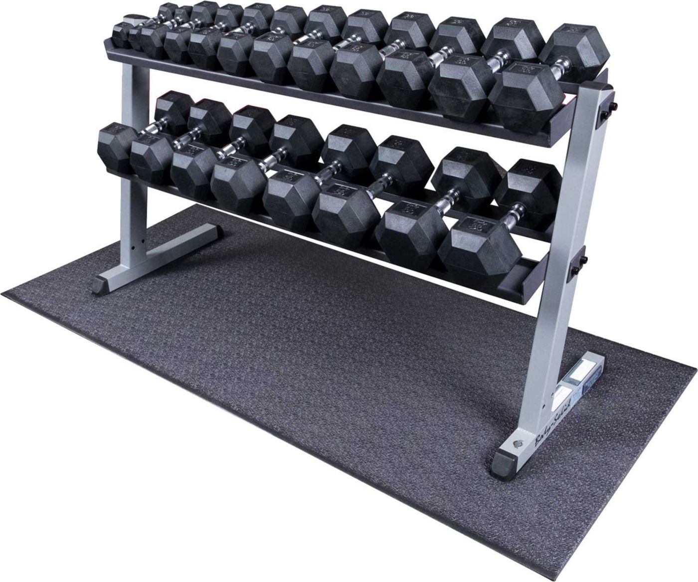 Body Solid GDR60 Rubber Hex Dumbbell Rack and Set