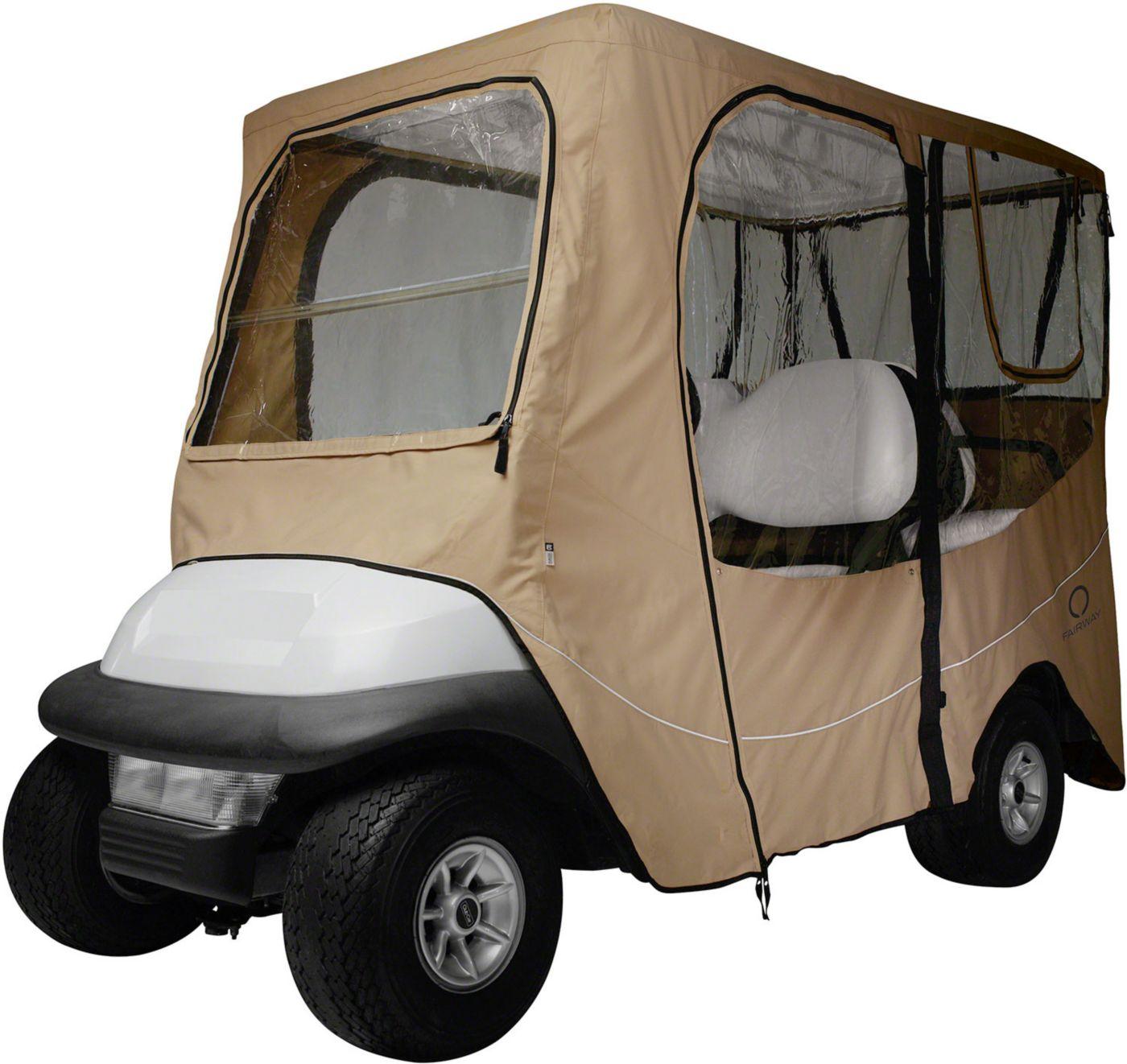 Classic Accessories Fairway Deluxe Long Roof Khaki Golf Cart Enclosure