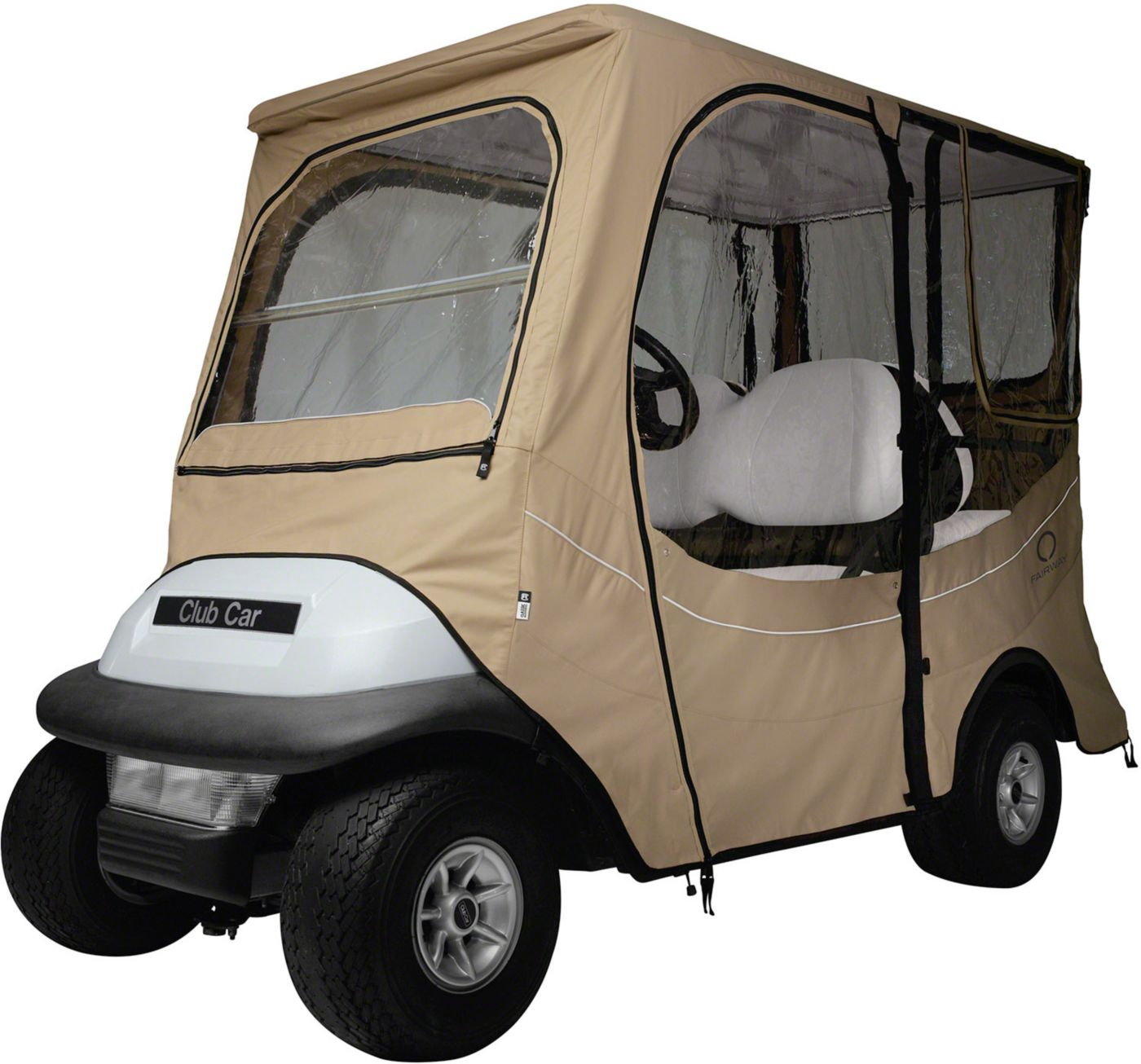 Classic Accessories Fairway FadeSafe Precedent Long Roof Khaki Golf Cart Enclosure